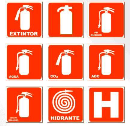 Placas de sinalização para extintores